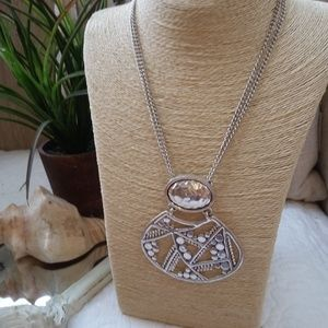 STUNNING LARGE Solid SILVER Tone PENDANT Necklace